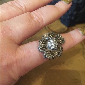 Jewelry - VTG marcasite crystal sterling silver ring